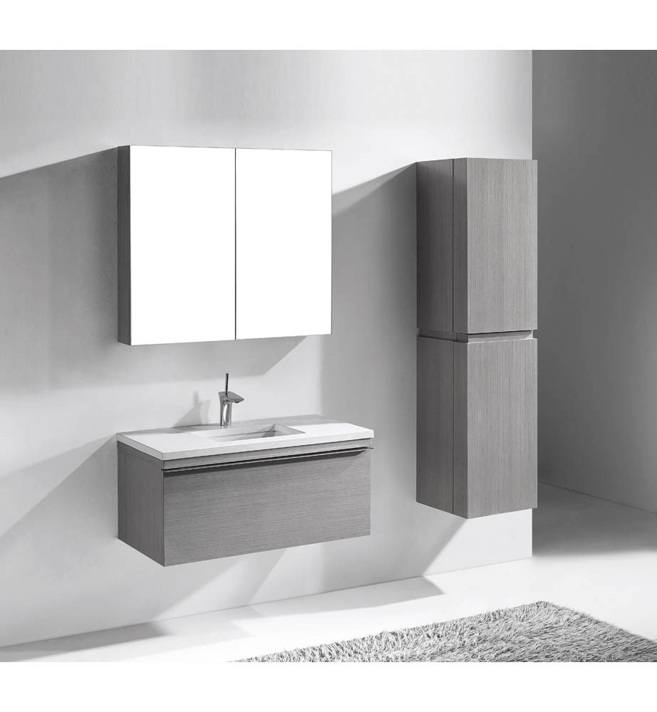 "Madeli Venasca 36"" Bathroom Vanity for Quartzstone Top - Ash Grey B990-36-002-AG-QUARTZ"