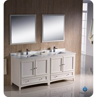"Fresca Oxford 72"" Traditional Double Sink Bathroom Vanity - Antique White FVN20-3636AW"