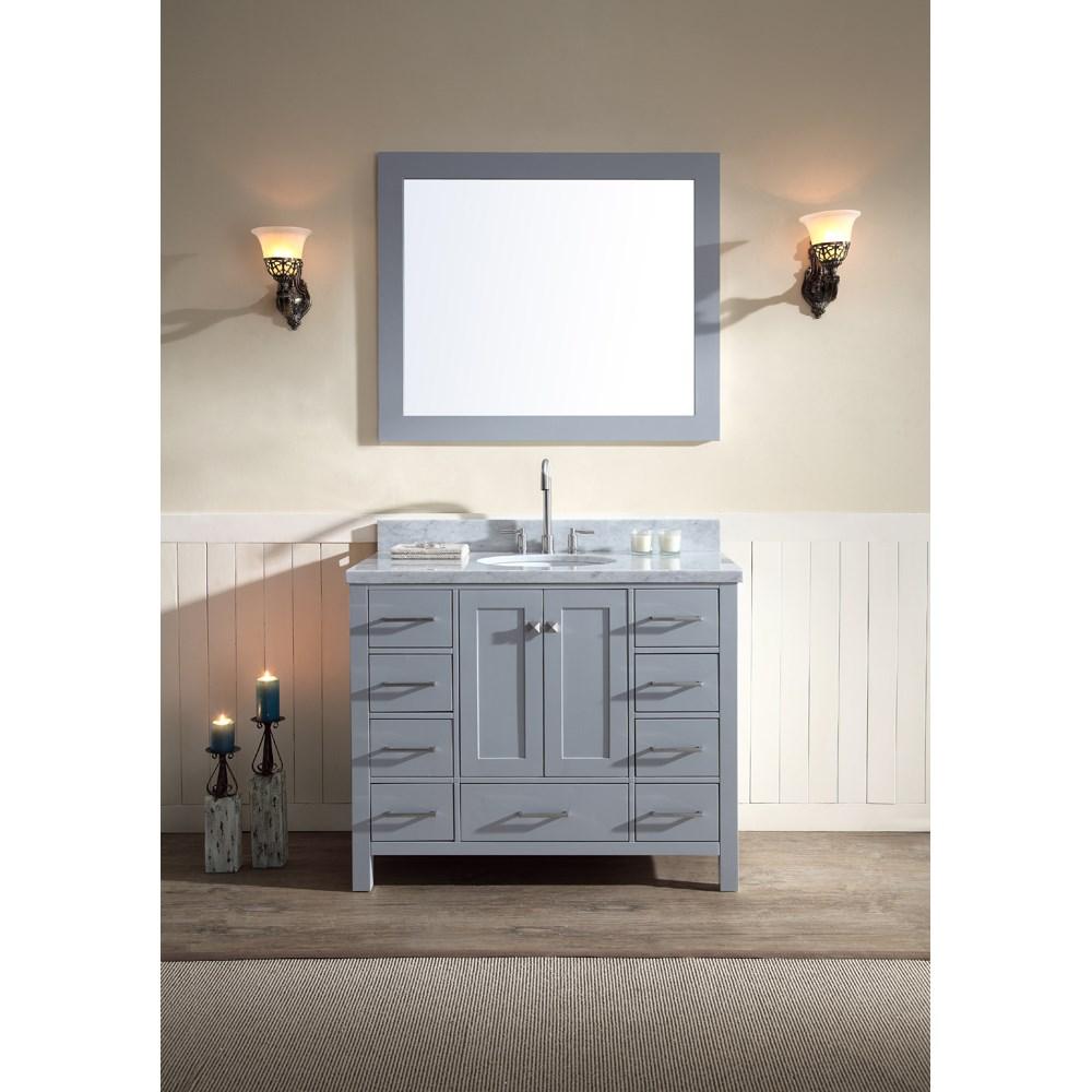 ariel cambridge 43 single sink vanity set with carrera white marble rh modernbathroom com