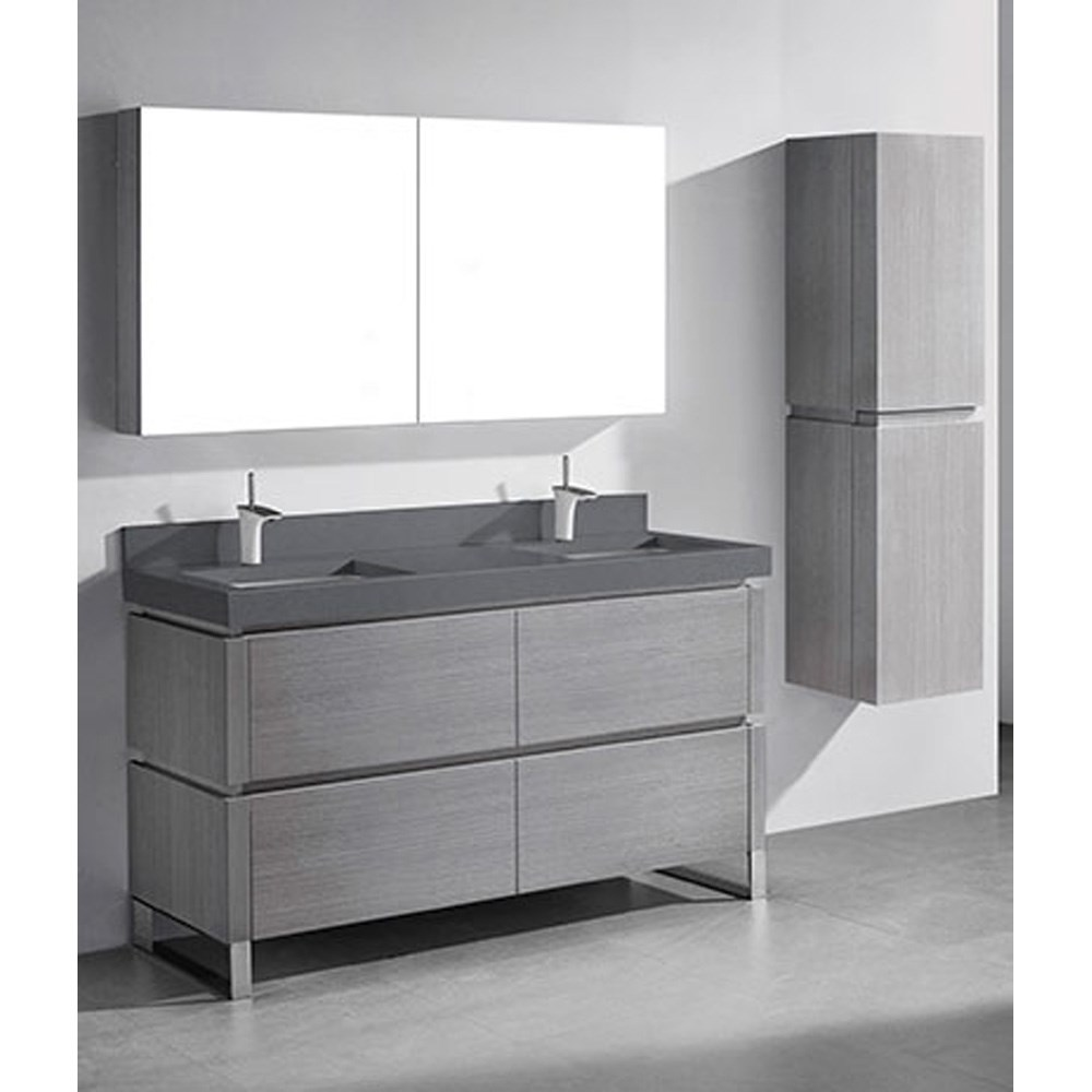 madeli metro 60 double bathroom vanity for quartzstone top ash rh modernbathroom com