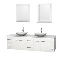 "Centra 80"" Double Bathroom Vanity for Vessel Sinks by Wyndham Collection - Matte White WC-WHE009-80-DBL-VAN-WHT_"