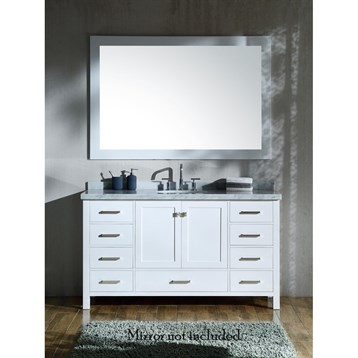 "Ariel Cambridge 61"" Single Sink Vanity With Carrara White Marble Countertop - White"