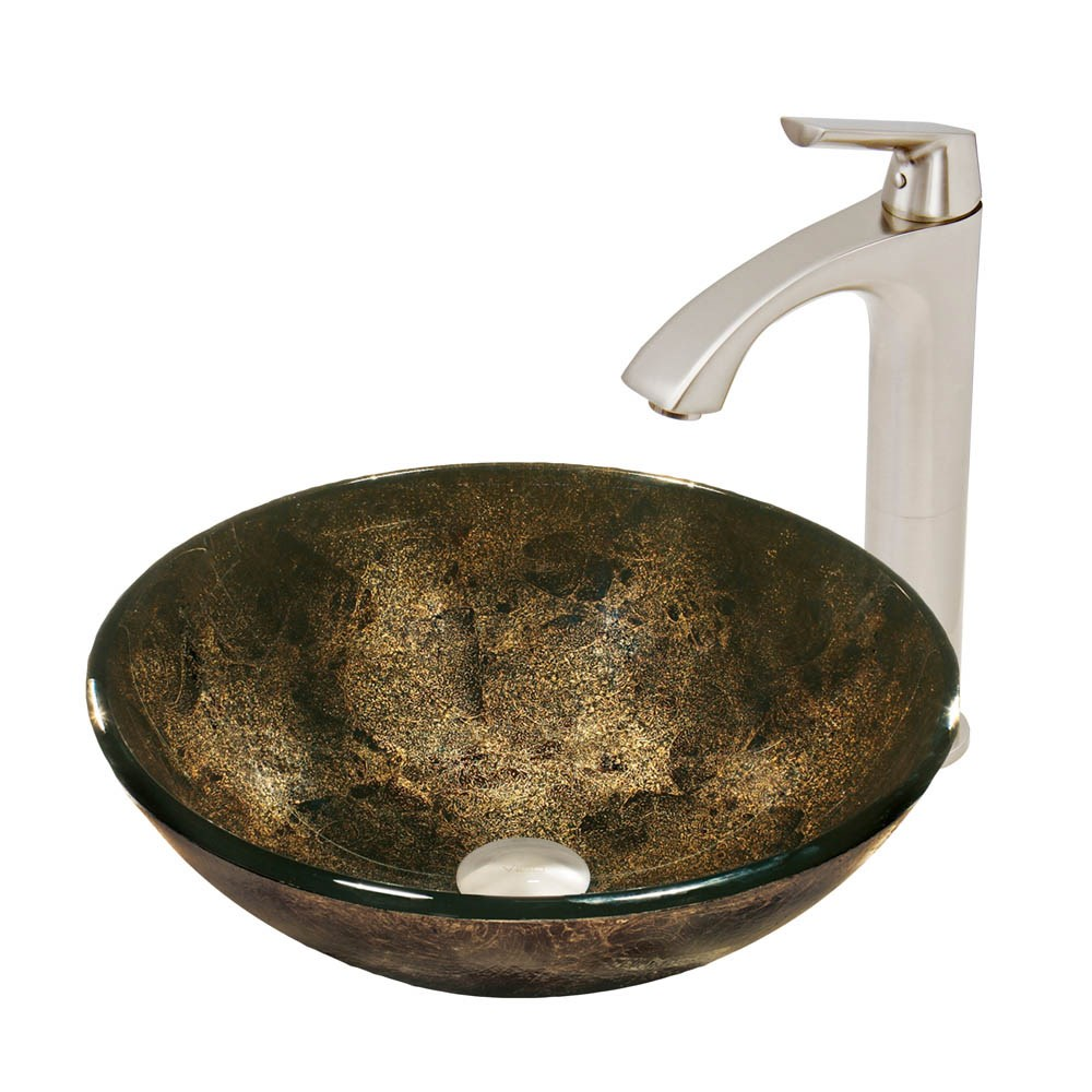 VIGO Sintra Glass Vessel Sink and Linus Faucet Setnohtin Sale $225.90 SKU: VGT527- :