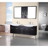 Design Element Tustin Double Sink Vanity Set - Espresso DEC078