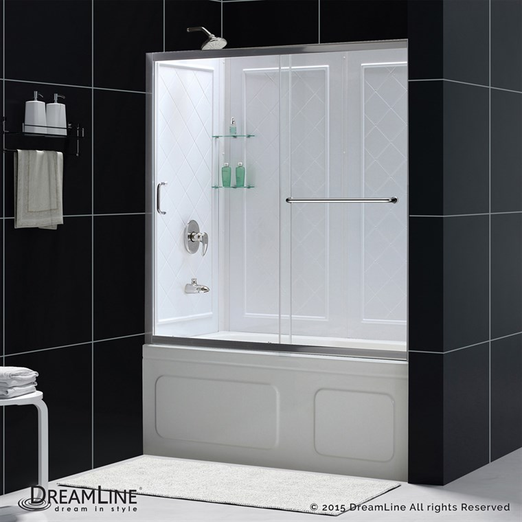 "Bath Authority DreamLine Infinity-Z Frameless Sliding Tub Door and QWALL-Tub Backwalls Kit (56-60""), Clear Glass DL-6992"