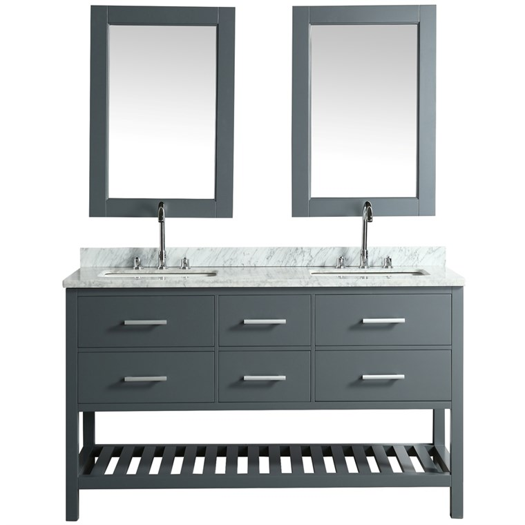 "Design Element London Cambridge 61"" Double Sink Vanity - Gray DEC077C-G"
