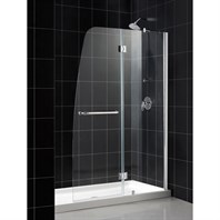 "Bath Authority DreamLine Aqua Frameless Hinged Shower Door and SlimLine Single Threshold Shower Base (30"" by 60"") DL-6500"