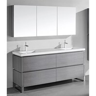 "Madeli Metro 72"" Double Bathroom Vanity for Integrated Basin - Ash Grey B600-72D-001-AG"