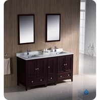 "Fresca Oxford 60"" Traditional Double Sink Bathroom Vanity with Side Cabinet - Mahogany FVN20-241224MH"