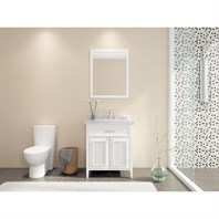 "Ariel Kensington 31"" Single Sink Vanity Set with Carrera White Marble Countertop - White D031S-WHT"