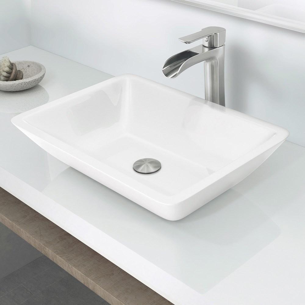 Flat edged stone glass vessel bathroom sink for Flat bathroom sinks