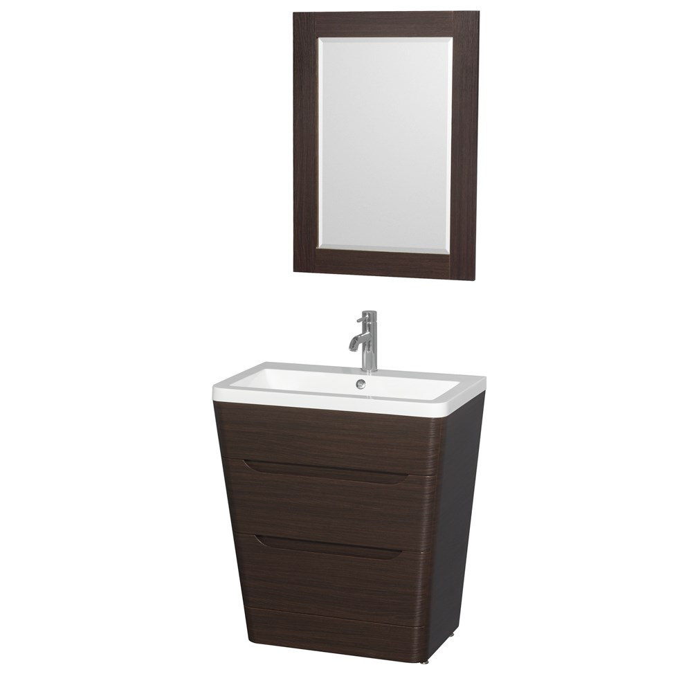 "Caprice 30"" Bathroom Pedestal Vanity Set by Wyndham Collection in Espresso with Acrylic-Resin Countertop, Integrated Sink, and 24"" Mirror WCS777830SESARINTM24"