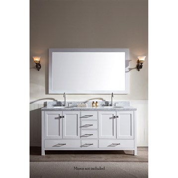 "Ariel Cambridge 73"" Double Sink Vanity With Carrara White Marble Countertop - White"