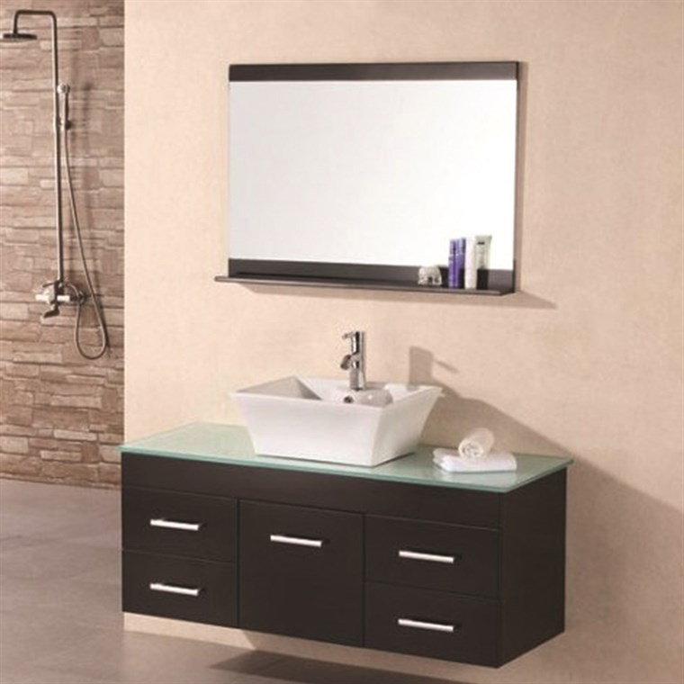 "Design Element Portland 48"" Single Sink Wall Mount Vanity Set - Espresso DEC1100A"