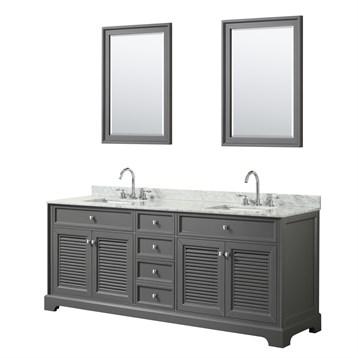 Tamara 80 Double Bathroom Vanity by Wyndham Collection - Dark Gray