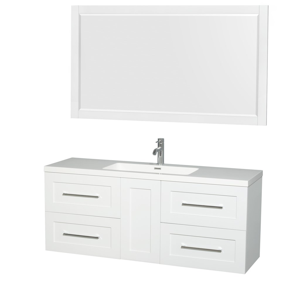 "Olivia 60"" Wall-Mounted Single Bathroom Vanity Set With Integrated Sink by Wyndham Collection - Glossy White WC-R4500-60-VAN-WHT-SGL"