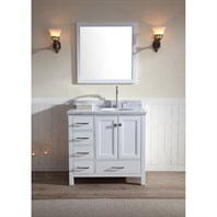 "Ariel Cambridge 37"" Single Sink Vanity Set with Right Offset Sink and Carrera White Marble Countertop - White A037S-R-WHT"