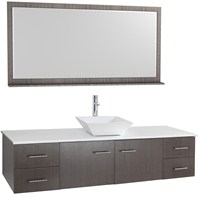 "Bianca 72"" Wall-Mounted Single Bathroom Vanity - Gray Oak WHE007-72-GROAK-SGL"
