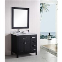 "Design Element London 36"" Modern Bathroom Vanity - Espresso DEC076-D"