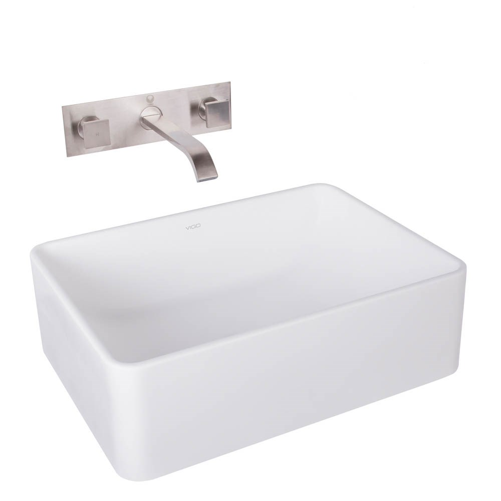 VIGO Caladesi Matte Stone Vessel Sink and Titus Brushed Nickel Finish Dual Lever Wall Mount Faucetnohtin Sale $255.90 SKU: VGT1026 :