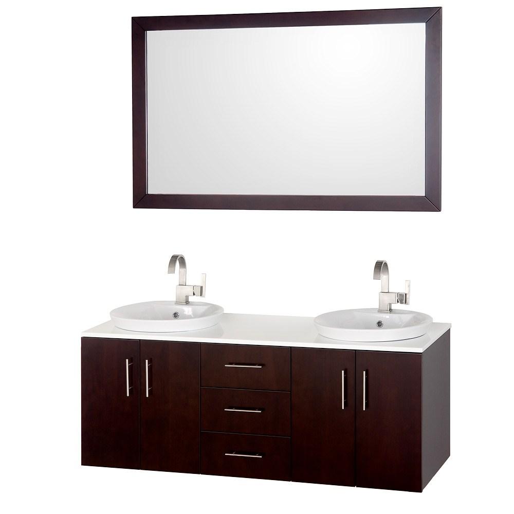 """Arrano 55"""" Double Bathroom Vanity Set by Wyndham Collection - Espressonohtin Sale $1299.00 SKU: WC-B400-55-VAN-ESP :"""