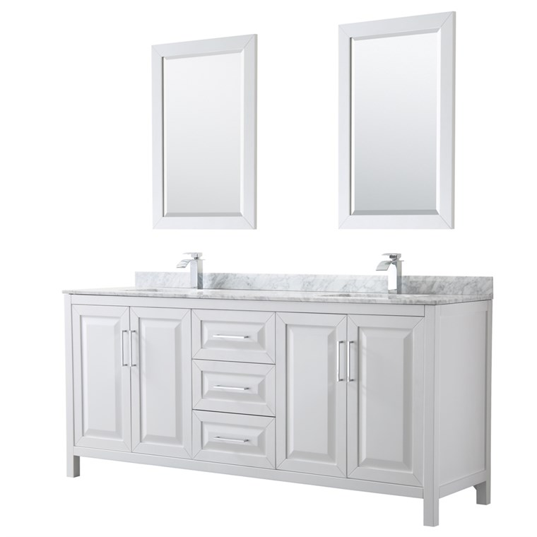 "Daria 80"" Double Bathroom Vanity by Wyndham Collection - White WC-2525-80-DBL-VAN-WHT"