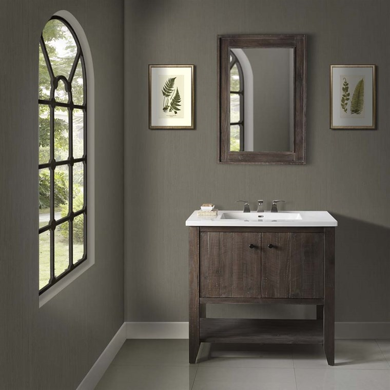 "Fairmont Designs River View 36"" Open Shelf Vanity for Integrated Sink - Coffee Bean 1516-VH36-"