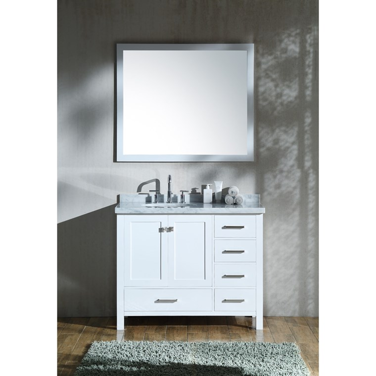 "Ariel Cambridge 43"" Single Sink Vanity Set with Left Offset Sink and Carrara White Marble Countertop - White A043S-L-WHT"