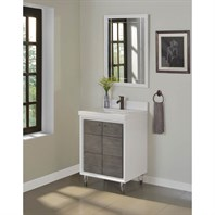 "Fairmont Designs Park Central 24"" Vanity - Glossy White / Silvered Oak 1531-V24"