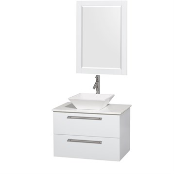"Amare 30"" Wall-Mounted Bathroom Vanity Set with Vessel Sink by Wyndham Collection, Glossy White WC-R4100-30-WHT by Wyndham Collection®"