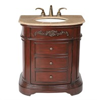"Stufurhome 32"" Stella Single Sink Vanity with Travertine Marble Top - Dark Cherry GM-2210-32-TR"