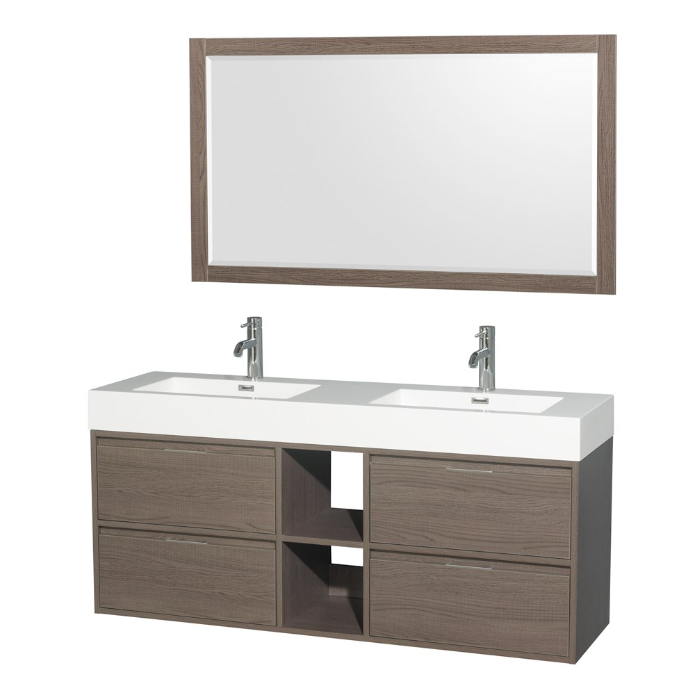 "Daniella 60"" Wall-Mounted Double Bathroom Vanity Set With Integrated Sinks by Wyndham Collection - Gray Oak WC-R4600-60-VAN-GRO"