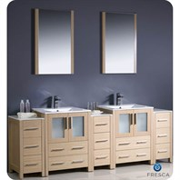 "Fresca Torino 84"" Light Oak Modern Double Sink Bathroom Vanity with 3 Side Cabinets, Integrated Sinks, and Mirrors FVN62-72LO-UNS"
