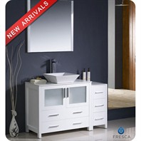 "Fresca Torino 48"" White Modern Bathroom Vanity with Side Cabinet, Vessel Sink, and Mirror FVN62-3612WH-VSL"