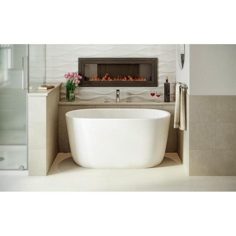 Aquatica Lullaby-Nano-Wht Small Freestanding Solid Surface Bathtub - Matte White Aquatica Lullaby-Nano-Wht