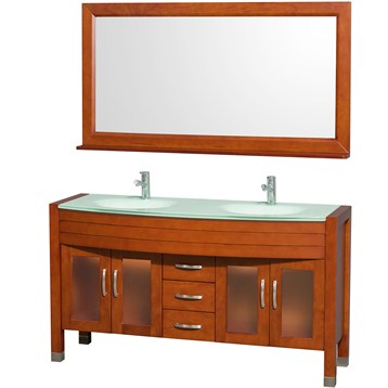 "Daytona 60"" Double Bathroom Vanity with Mirror by Wyndham Collection, Cherry WC-A-W2200-60-CH- by Wyndham Collection®"
