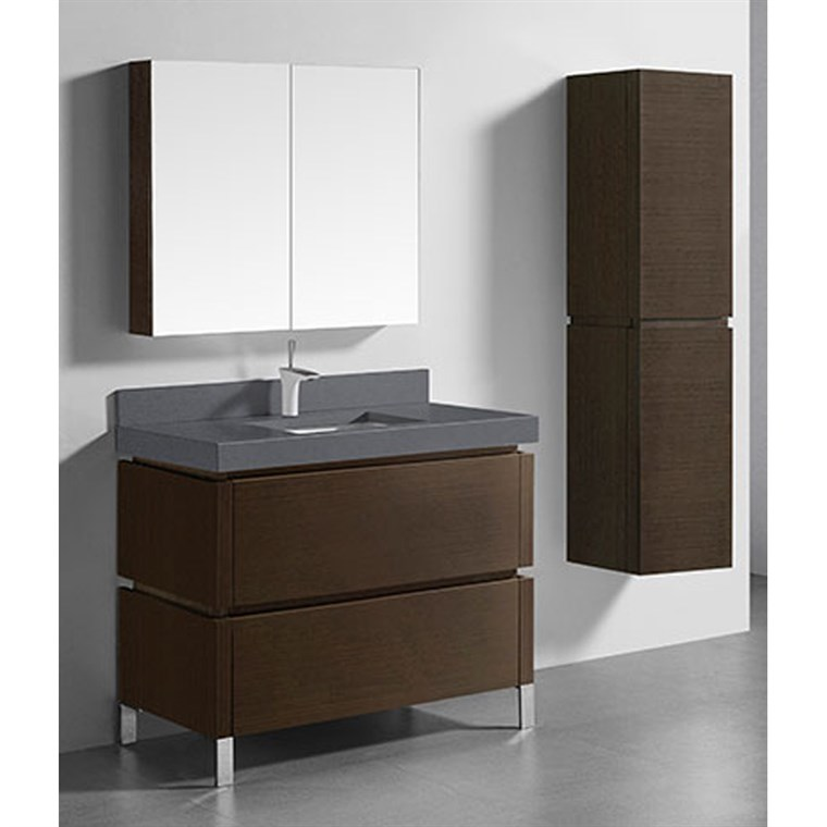 "Madeli Metro 42"" Bathroom Vanity for Quartzstone Top - Walnut B600-42-001-WA-QUARTZ"