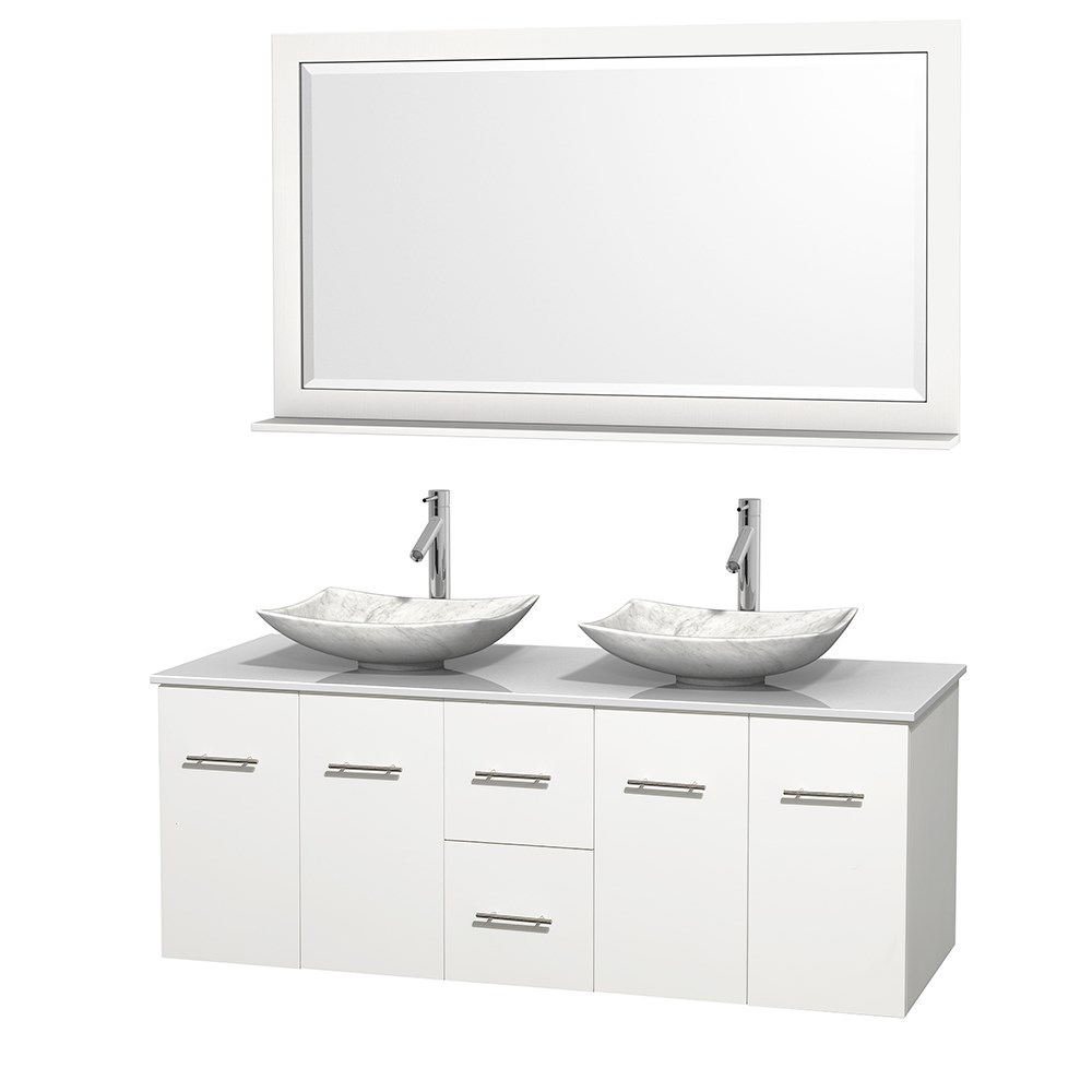"Centra 60"" Double Bathroom Vanity for Vessel Sinks by Wyndham Collection - Matte Whitenohtin Sale $1299.00 SKU: WC-WHE009-60-DBL-VAN-WHT_ :"