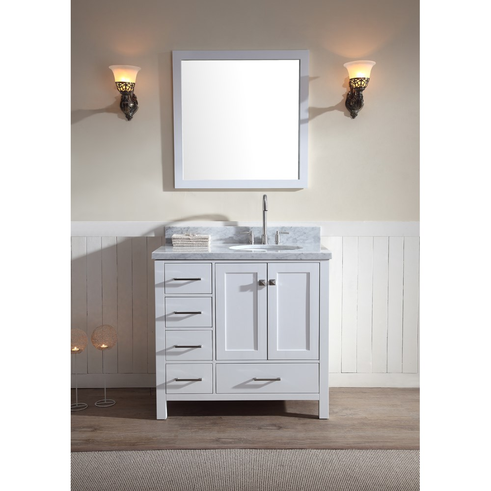 "Ariel Cambridge 37"" Single Sink Vanity Set with Right Offset Sink and Carrera White Marble Countertop - Whitenohtin Sale $1099.00 SKU: A037S-R-WHT :"