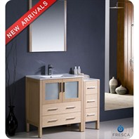 "Fresca Torino 42"" Light Oak Modern Bathroom Vanity with Side Cabinet & Integrated Sink FVN62-3012LO-UNS"