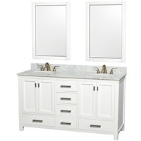 "Abingdon 60"" Double Bathroom Vanity Set by Wyndham Collection - White WC-1515-60-WHT-DBL"