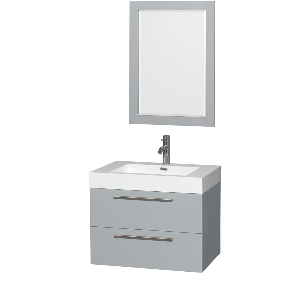 Amare 30 inch Wall Mounted Bathroom Vanity Set with Integrated Sink by Wyndham Collection Dove Gray