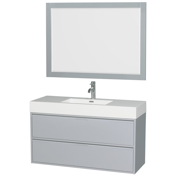 "Daniella 48"" Wall-Mounted Bathroom Vanity Set With Integrated Sink by Wyndham Collection - Dove Gray WC-R4600-48-VAN-DVG"