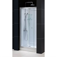 "Bath Authority DreamLine Butterfly Frameless Bi-Fold Shower Door, Single Threshold Shower Base and QWALL-5 Shower Backwalls Kit (36"" by 36"") DL-6130C-01CL"