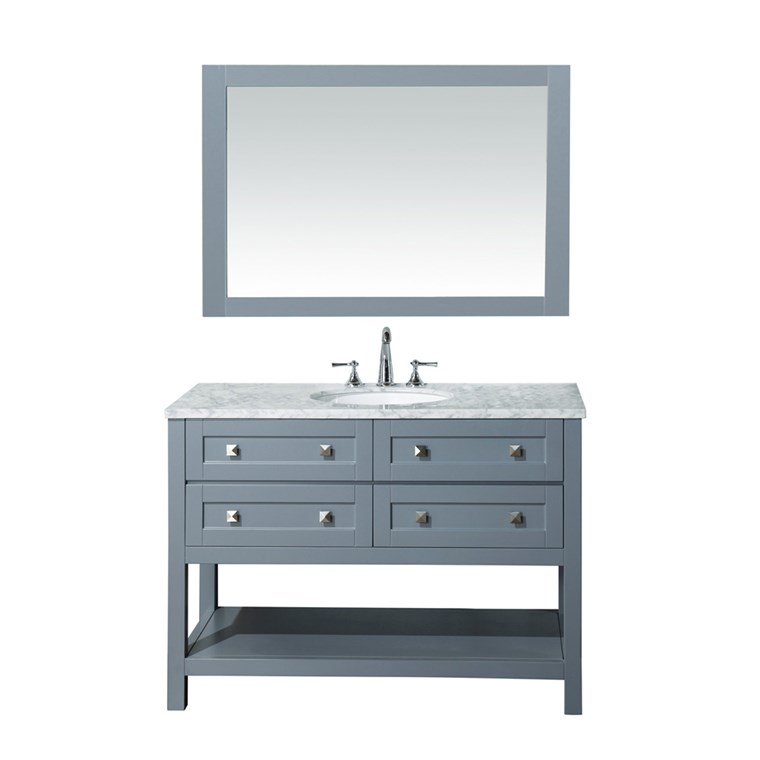 "Stufurhome Marla 48"" Single Sink Bathroom Vanity with Mirror - Grey HD-6868G-48-CR"