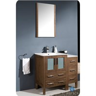 "Fresca Torino 36"" Walnut Brown Modern Bathroom Vanity with Side Cabinet & Integrated Sink FVN62-2412WB-UNS"