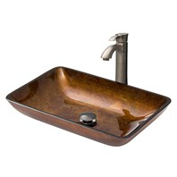 VIGO Rectangular Russet Glass Vessel Sink and Otis Faucet Set in Brushed Nickel VGT315
