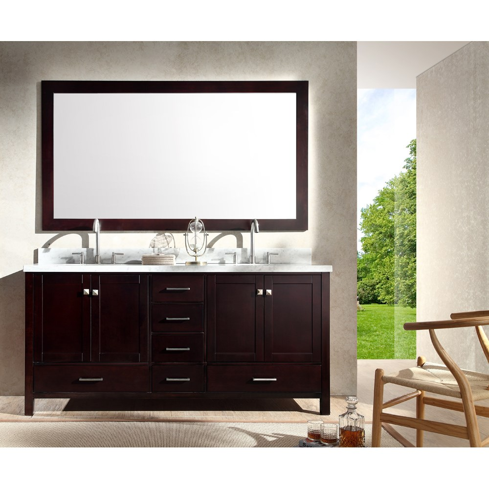 "Ariel Cambridge 73"" Double Sink Vanity Set with Carrera White Marble Countertop - Espressonohtin Sale $1899.00 SKU: A073D-ESP :"