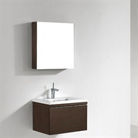 "Madeli Venasca 24"" Bathroom Vanity with Quartzstone Top - Walnut B990-24-002-WA-QUARTZ"