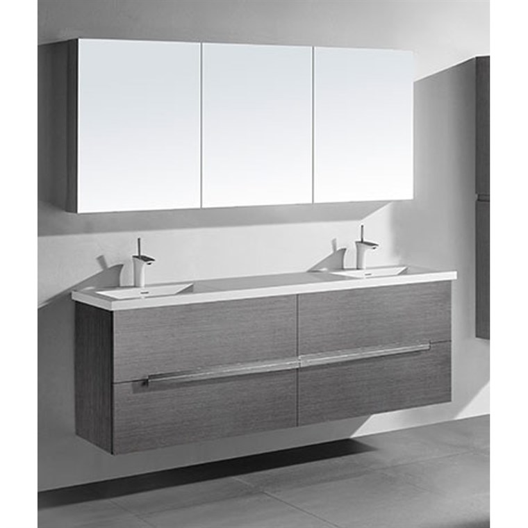 "Madeli Urban 72"" Double Bathroom Vanity for Integrated Basin - Ash Grey B300-72D-002-AG"